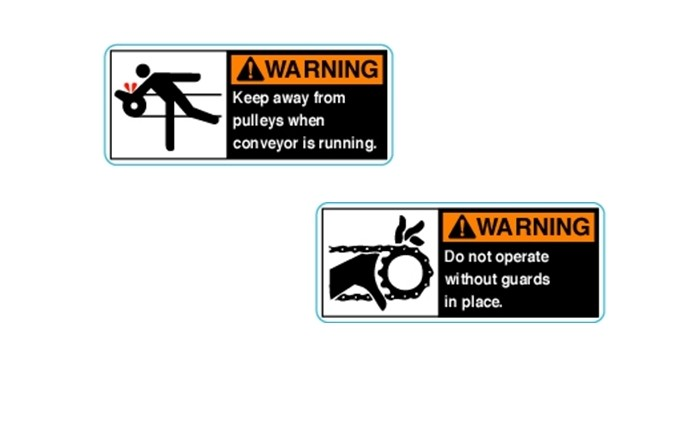 Pulley and Sprocket Warning Stickers