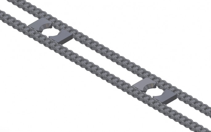 Standard Size Drive Chain with Inside Lugs for Cam Followers, Close-Up