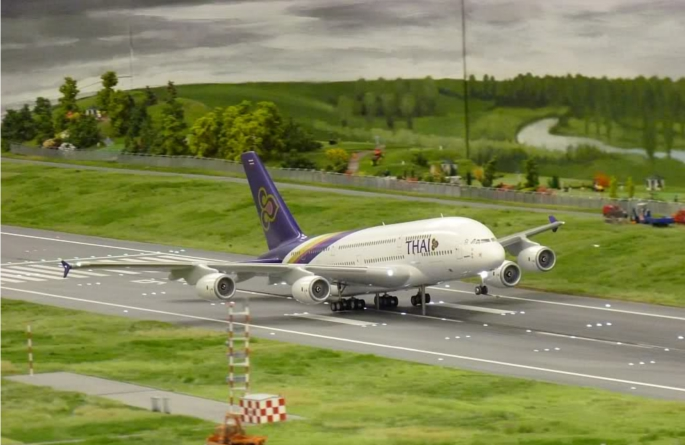 Miniatur Wunderland Model Airport Plane on the Runway