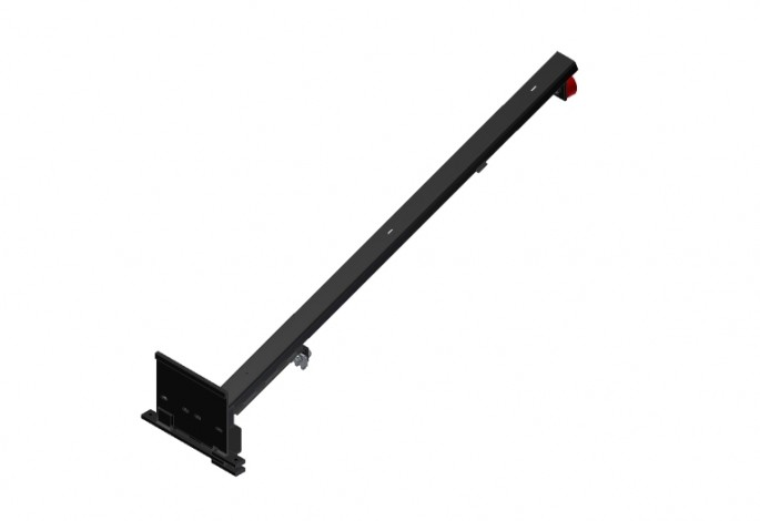 Pallet Support Assembly - Black with Red Wheels - Right Side