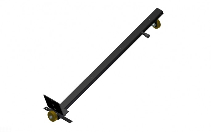 Pallet Support Assembly - Black with Brown Wheels - Right Side